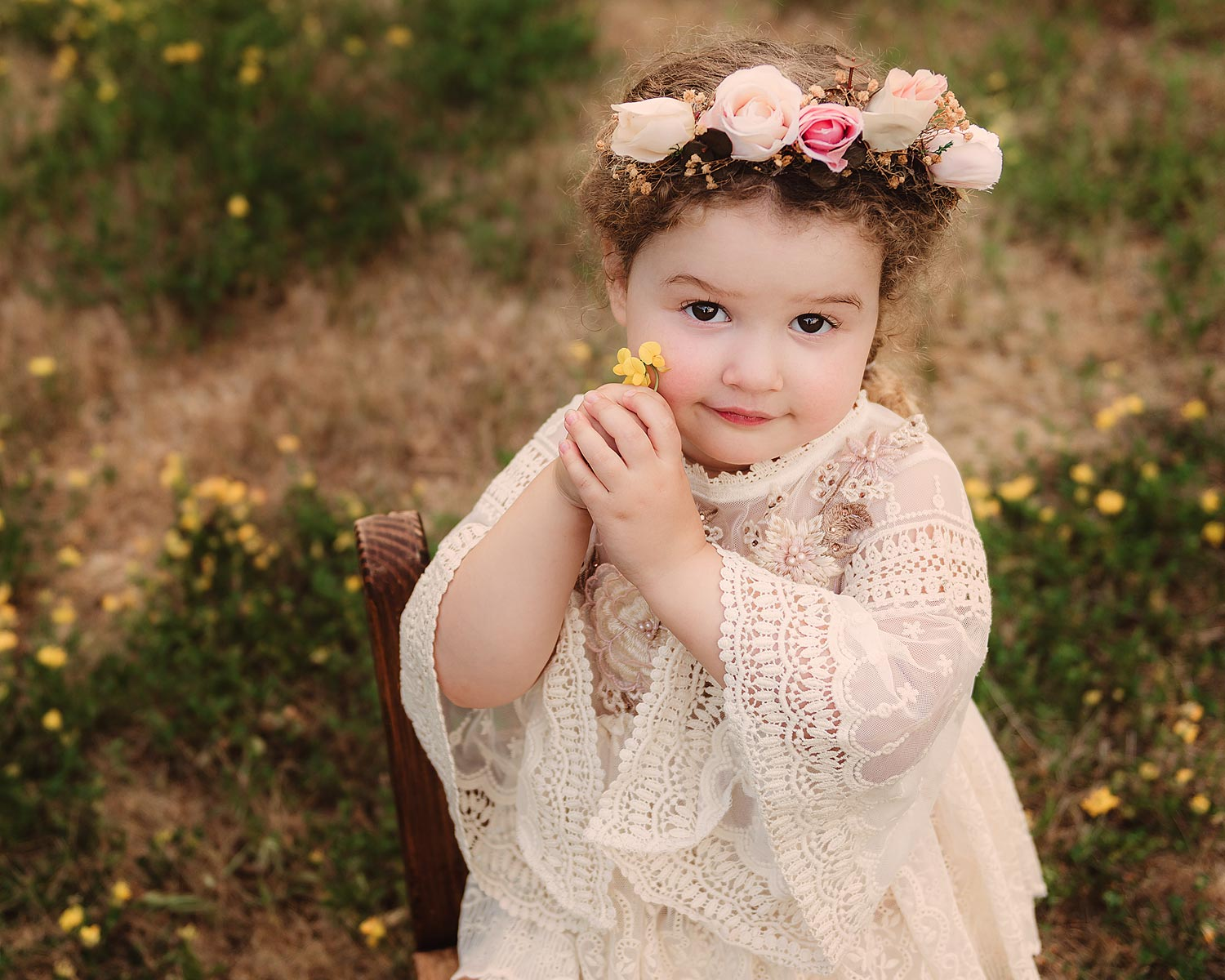 Toddler Milestone session with boho cream dress