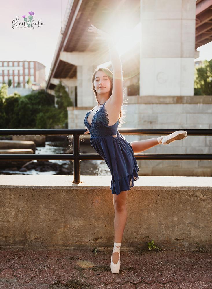 Teen ballet dancer sun flare